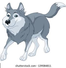 Illustration o cute cartoon wolf running