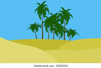 illustration of oasis in desert palms and green grass