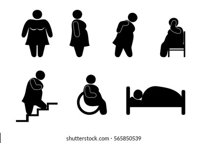 Illustration of obesity, stick figure set, stout woman, a sedentary lifestyle, excess weight, simple flat icons isolated. Fat and bad health effects.