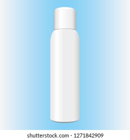 Illustration of an object item aerosol bottle of cosmetics or medicine, white, perspective. Ideal for product catalogs and cosmetic hygiene information