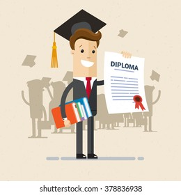 Illustration of obtaining degree, diploma of university, college or business school. A man in a suit hold a degree certificate. Illustration, vector EPS 10