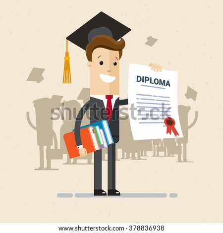Illustration Of Obtaining Degree Diploma University College Or Business School A Man