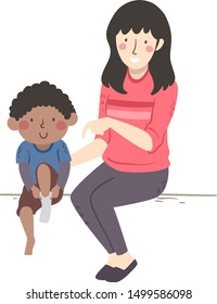 Illustration of an Occupational Therapist Girl Teaching a Kid Boy with Developmental Coordination Disorder to Wear Socks