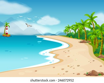 Illustration of an ocean view during the day