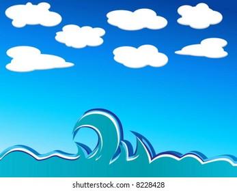 Illustration ocean waves. Vector illustration