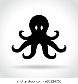 Illustration of octopus icon on white background