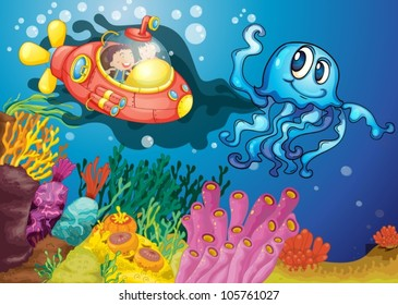 illustration of octopus and kids in submarine