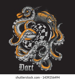 illustration of an octopus wrapped around a dart board for posters, shirt designs or something else