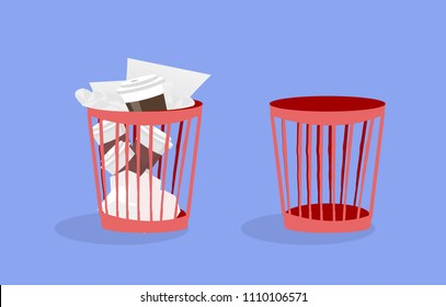 Illustration of office plastic trash can with crumpled papers and used disposable coffee cups. Cartoon flat style. Isolated graphic element for your design on violet  background with shadow