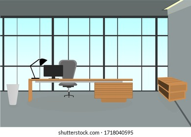 Illustration of an office room with tables, shelves and computers.