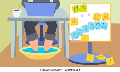 """Illustration with an office worker, who dipped his feet in a basin of water and thus spends the summer. On the right board with the inscription """"My beach season."""""""