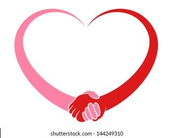 Illustration og a stylized heart holding hands