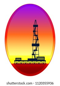 Illustration of the oil derrick on evening landscape