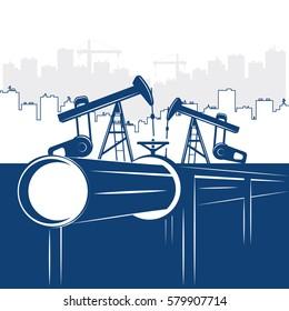 Illustration Oil & Gas Pipeline Construction Industry