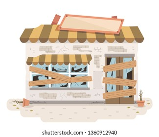 Illustration of an Old and Abandoned Store with Broken Signage, Glasses and Wooden Planks