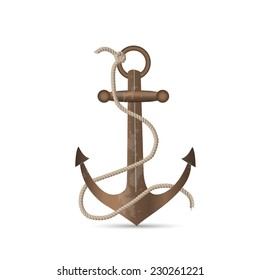 Illustration of an old anchor isolated on a white background.