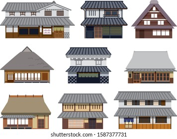 Illustration of an old building in Japan