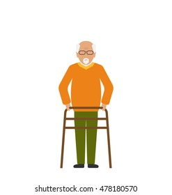 Illustration Old Disabled Man Isolated on White Background. Cripple Male on Walker. Physiotherapy and Rehabilitation for Invalids - Vector