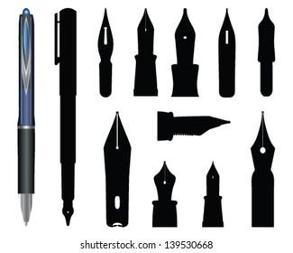 Illustration of old ink pen 2-vector