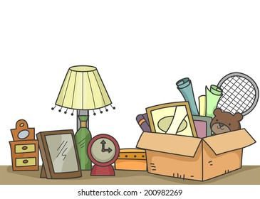 Illustration of Old Items That are About to be Donated