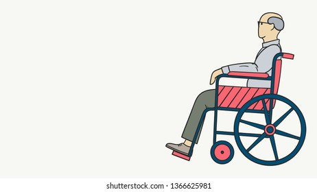 Illustration of an old man with glasses sitting in a wheelchair