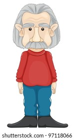 illustration of a old man on a white baackground