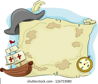 Illustration of an Old Map with a Compass and an Old Ship on Its Sides