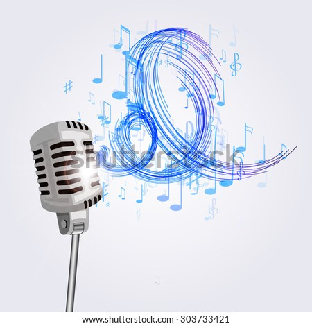 Illustration Old Microphone Musical Notes Stock Vector Royalty Free