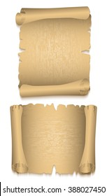 Illustration of old paper scroll isolated