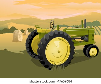 Illustration of an old tractor with a rural scene in the background.