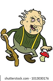 Illustration an old ugly troll with a cane and a mushroom