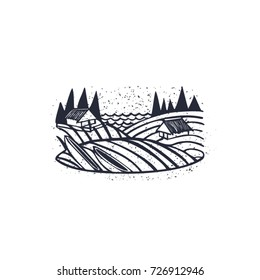 Illustration of an old village vector. River Bank with boats and houses stylized linocut