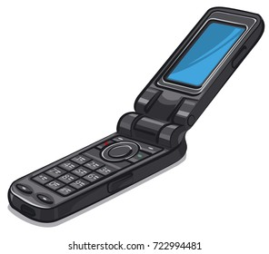 illustration of old vintage cellphone on white background