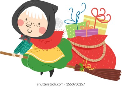 Illustration of an Old Witch Flying and Riding a Broom with a Bag Full Gifts for Christmas