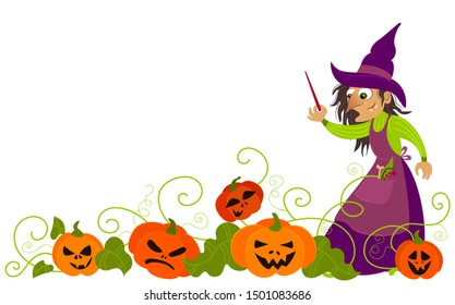 Illustration of old witch in pumpkin growth. Decoration for halloween. Witch puts a spell on pumpkins.