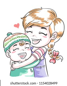 Illustration of Older Sister Hugging Younger Sibling