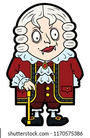 Illustration an old-fashioned vampire wearing a wig, in a flat cartoon style