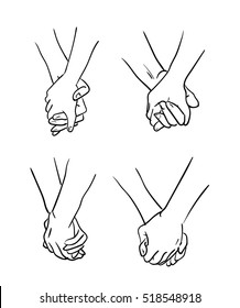 Illustration on different types of interlocking of hands between pairs or couples.