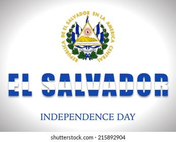 Illustration on El Salvador Flag For Independence day