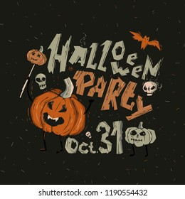 """Illustration on a Halloween with a pumpkin holding a scepter with a small pumpkin. It says """"Halloween party."""""""