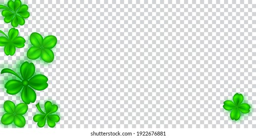 Illustration on St. Patrick's Day made of realistic clover leaves in green colors with shadows on transparent background