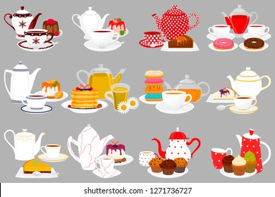 Illustration on theme big colored set different types teapots, different size kettles. Teapot pattern consisting of collection accessory to kettle in kitchen. Kettle with kitchen teapot for fresh tea