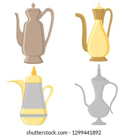 Illustration on theme big colored set different types jugs, kettles retro style. Jug pattern consisting of collection accessory beautiful kettle to beverage. Vintage jug is symbol kettle for delight.