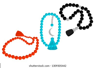 Illustration on theme big colored set different types of beads for rosary with tassel. Bead pattern consisting of collection accessory beautiful rosary in tassels. Beads is symbol rosary off tassel.