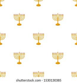 Illustration on theme big colored pattern Hanukkah, seamless set menorah. Seamless pattern consisting of collection menorah, accessory holiday Hanukkah. Seamless Hanukkah, pattern in old menorah.