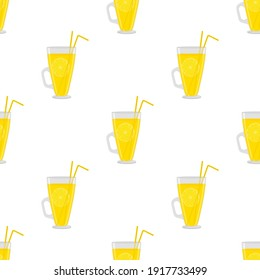 Illustration on theme big colored lemonade in glass cup for natural drink. Lemonade pattern consisting of collection kitchen accessory, glass cup to organic food. Tasty fresh lemonade from glass cup.