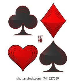 Illustration on theme big colored set different types card suits in gamble game poker, casino. Casino pattern consisting of collection accessory card suit, gamble poker. Gamble poker,  suit to casino