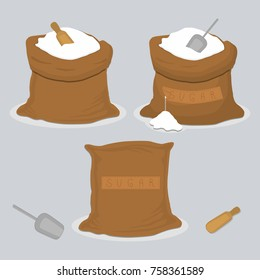 Illustration on theme big colored set different types sweet crystal powder sugar, bag various size. Bag sugar pattern consisting of collection accessory spoon, wooden paddle. Sugar bag as tasty food.