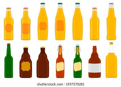 Illustration on theme big kit beer glass bottles with lid for brewery. Pattern beer consisting of many identical glass bottles on white background. Glass bottles it main accessory for beer gourmet.