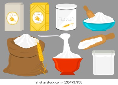 Illustration on theme big set different types dishware filled wheat flour. Wheat flour pattern consisting of collection dishware for organic cooking. Tasty wheat flour in eco dishware for menu gourmet